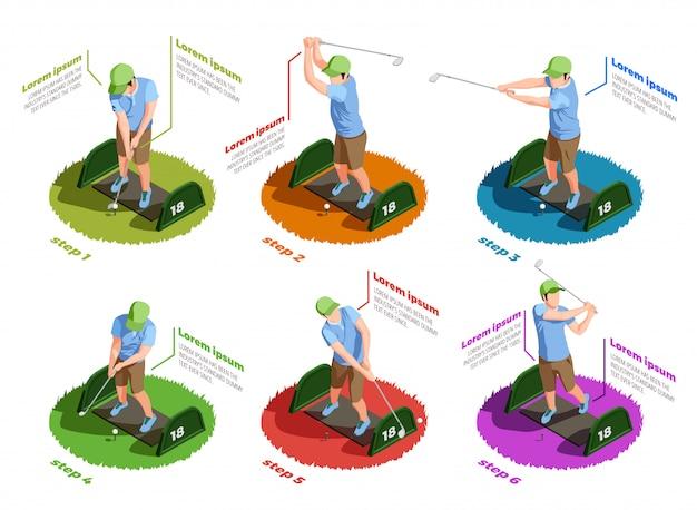 Iconos aislados isométricos de jugadores de golf