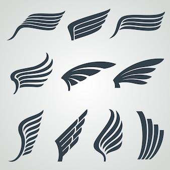 Iconos de alas de águila y ángel, símbolos heráldicos de vuelo aislados