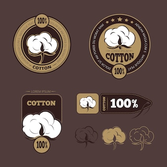 Iconos de algodón retro, etiquetas. garantía de producción algodón