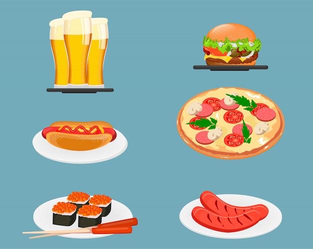 Iconos de los alimentos cerveza, hamburguesa con queso, hot dog, pizza, sushi y salchichas fritas