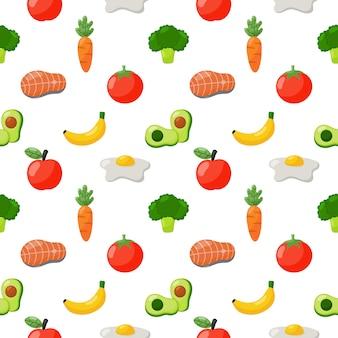 Iconos de alimentos comestibles de patrones sin fisuras aislados sobre fondo blanco.