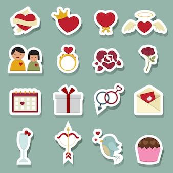 Iconos de amor de san valentín