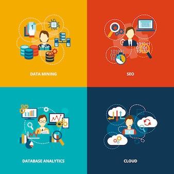 Iconos de análisis de bases de datos planos