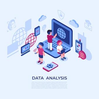 Iconos de análisis de datos de realidad virtual con personas