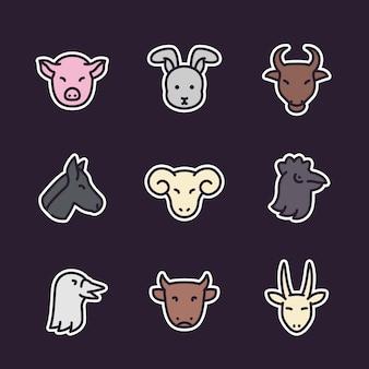Iconos de animales de granja, estilo plano con contorno