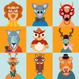Iconos de animales de hipster planos