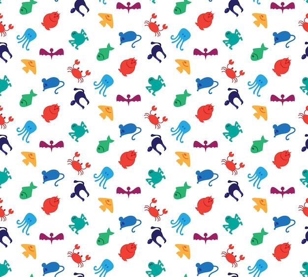 Iconos de animales de patrones sin fisuras de mamíferos, peces, aves e insectos.