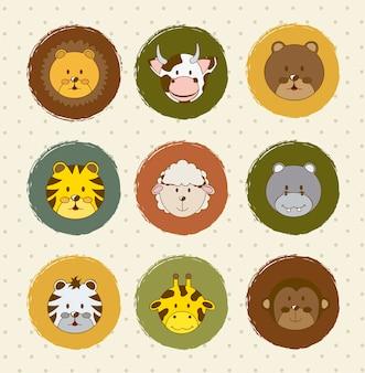 Iconos de animales sobre fondo vintage ilustración vectorial