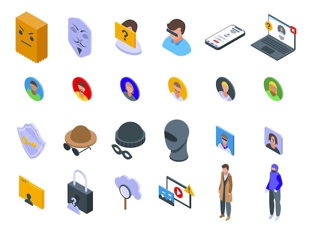 Iconos anónimos establecen vector isométrico. humano oculto. información de identidad de incógnito