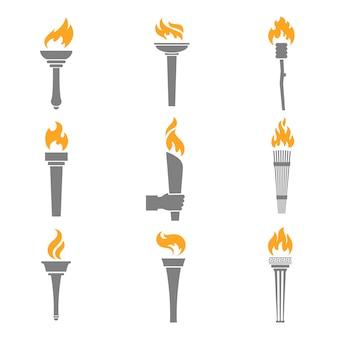 Iconos de la antorcha de fuego