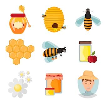 Iconos apiarios y abejas vectoriales.