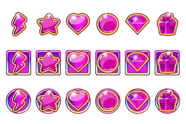 Iconos de la aplicación de juego en púrpura para ui