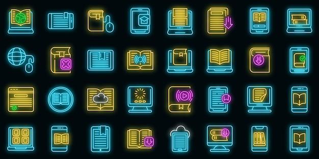 Los iconos de la aplicación de libros electrónicos establecen neón vectorial