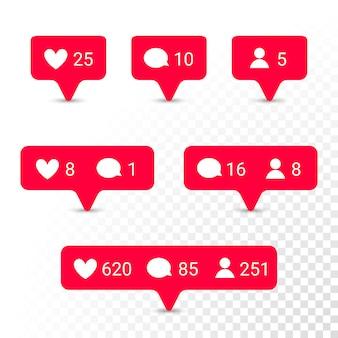 Iconos de aplicaciones de notificación corazón, mensaje, conjunto de solicitudes de amistad
