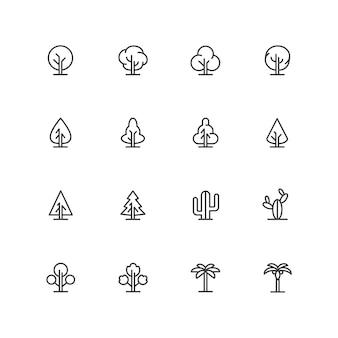 Iconos de árboles lineart simples, símbolos de líneas de paisaje, signos de plantas aisladas
