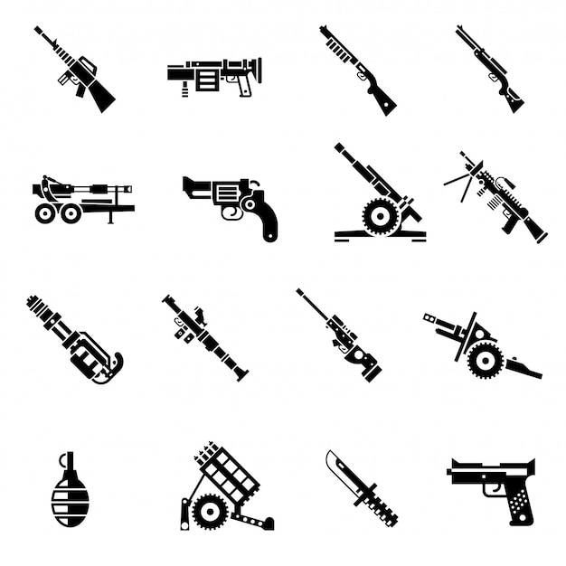 Iconos de armas negro