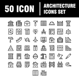 Iconos de arquitectura y construcción.