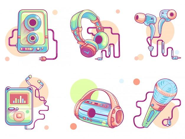 Iconos de arte de línea de música o audio