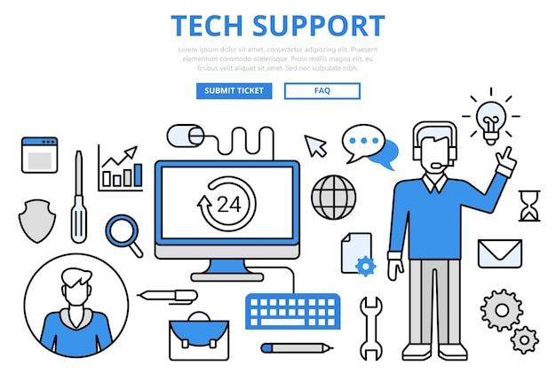 Iconos de arte de línea plana de concepto de línea directa de tecnología de cliente de soporte técnico.