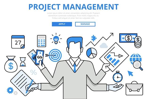 Iconos de arte de línea plana de concepto de multitarea empresarial de gestión de proyectos.