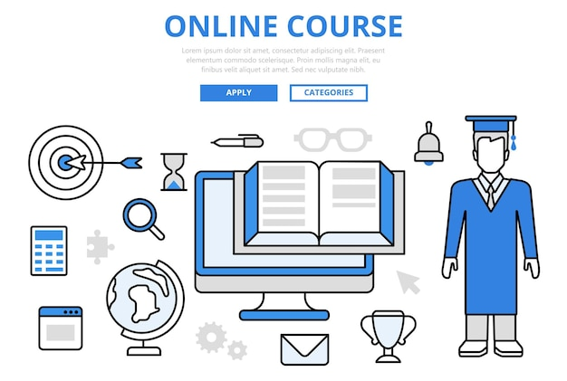 Iconos de arte de línea plana de concepto de posgrado de universidad de curso de estudio de educación en línea.