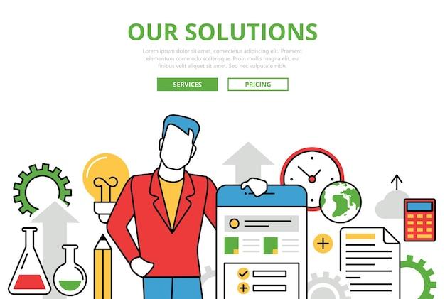 Iconos de arte de línea plana de concepto de soluciones empresariales