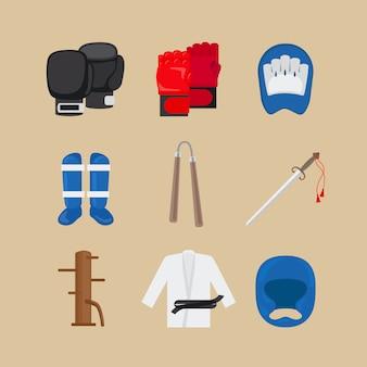 Iconos de artes marciales o vector de signos de deportes de combate