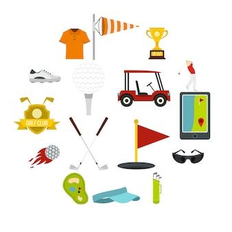 Iconos de artículos de golf en estilo plano