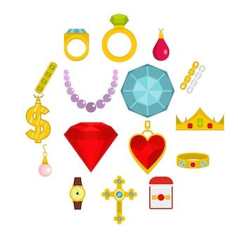 Iconos de artículos de joyería en estilo plano