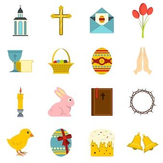 Iconos de artículos de pascua en estilo plano
