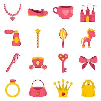 Iconos de artículos de princesa muñeca en estilo plano