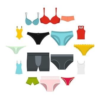 Iconos de artículos de ropa interior en estilo plano
