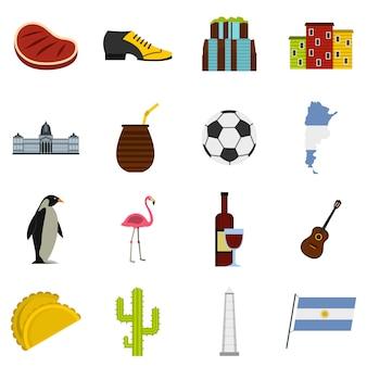 Iconos de artículos de viaje de argentina establecidos en estilo plano