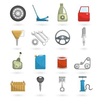 Iconos de auto servicio plana