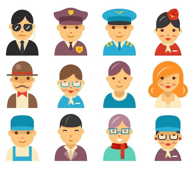 Iconos de avatar plano de aviación. personajes de aeropuerto en la ilustración de estilo plano.