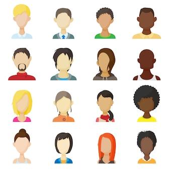 Iconos de avatar en vector de estilo de dibujos animados