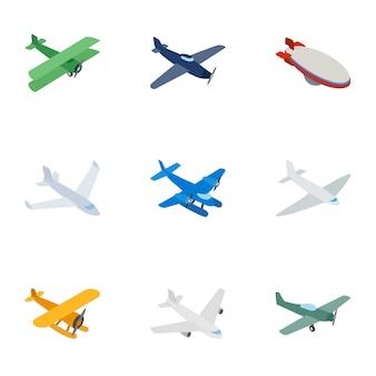 Iconos de aviones, isométrica estilo 3d