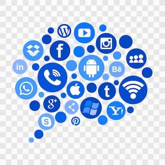 Iconos azules de redes sociales