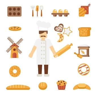 Iconos de baker planos