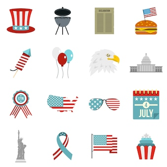 Iconos de la bandera del día de la independencia en estilo plano
