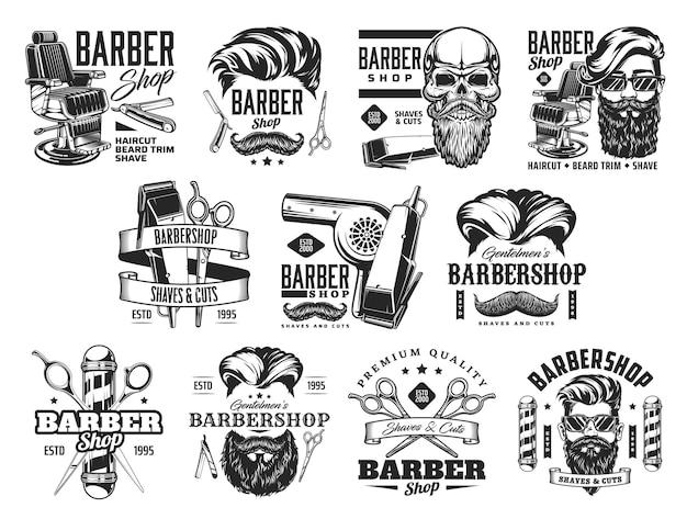 Iconos de barbería con poste de peluquería de barba y cabello