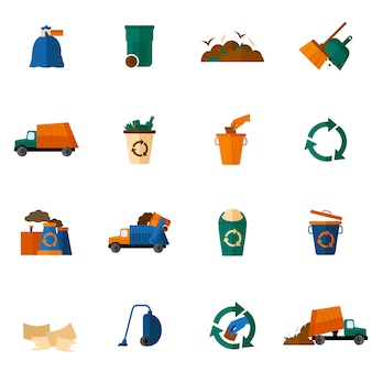 Iconos de basura planos