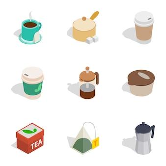 Iconos de bebidas calientes, isométrica estilo 3d