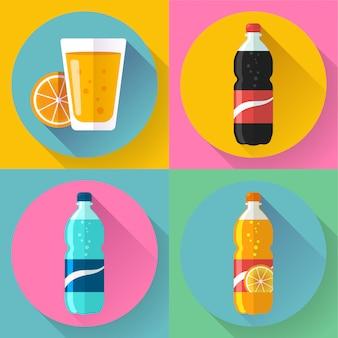 Iconos de bebidas planas para web y aplicaciones