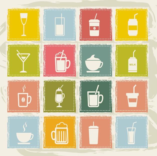 Iconos de bebidas vintage sobre fondo grunge