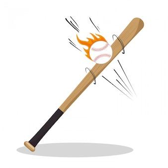 Iconos de béisbol de dibujos animados bat ball flame