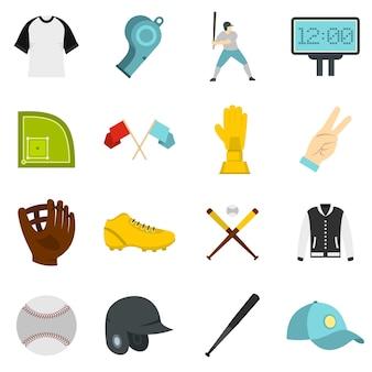 Iconos de béisbol en estilo plano