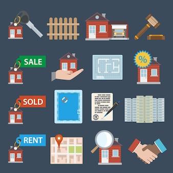 Iconos de bienes raíces conjunto de venta vendida propiedad de alquiler apartamento aislado ilustración vectorial