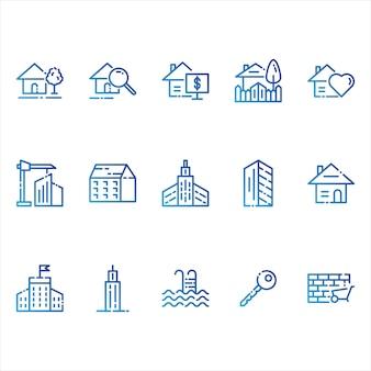 Iconos de bienes raíces y edificios