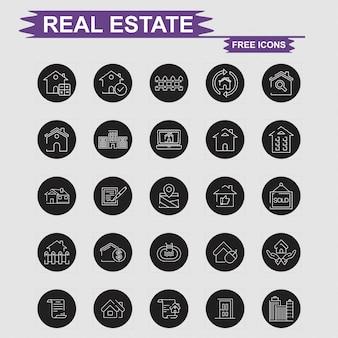 Iconos de bienes raíces set vector